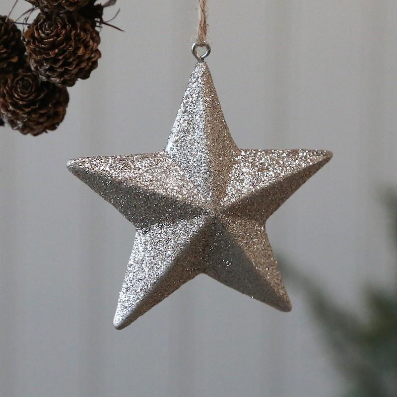 Stjerne med glimmer til ophæng m.m.