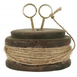 Træspole m. jutesnor og saks flad model