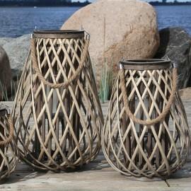 Lanterne i flet m. glasholder - 50 cm H