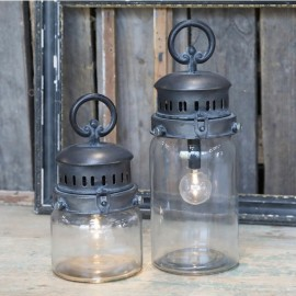 Lanterne i klar glas m. pære og timer - H22