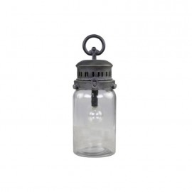 Lanterne i klar glas m. pære og timer - H30