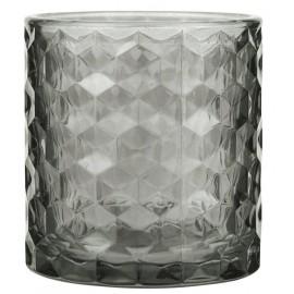 Fyrfadsstage i glas m. mønster