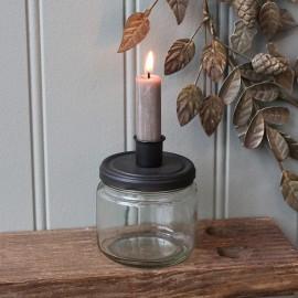 Lysestage m. holder i glas