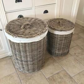 Vasketøjskurv m. låg - rattan