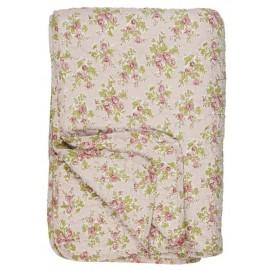 Vattæppe / quilt i lyserød med roser