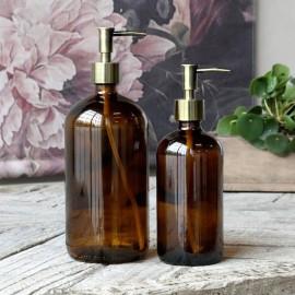 Sæbedispenser i brun glas m. 2 pumper - 1000 ml