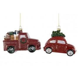 Juleornament bil - sæt a 2 stk.