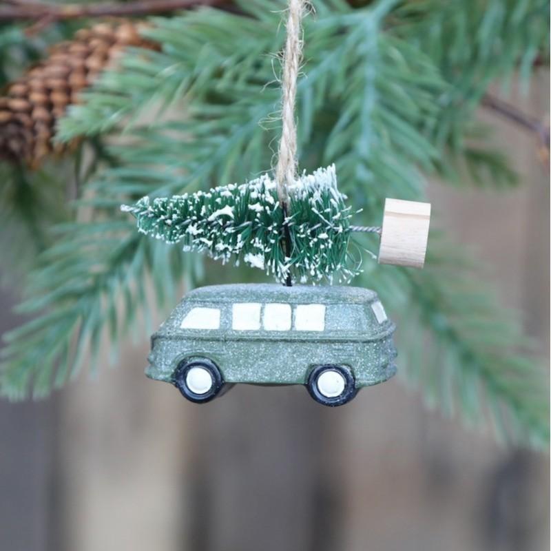 Julebil m. juletræ til ophæng