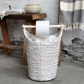 Kurv m. toiletpapirholder - hvid