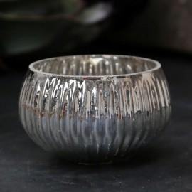 Fyrfadsstage m. riller i sølv look fra Chic Antique