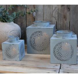 Lanterne med dekor -  zink / H26