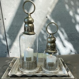 Lanterne i glas m. træbund fra La Vida