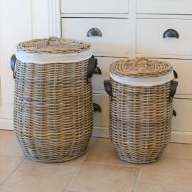 Vasketøjskurv med låg og hank - flet