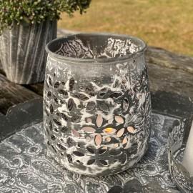 Fyrfadsstage i zink look med mønster fra La Vida