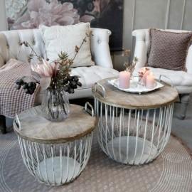 Rundt sofabord i hvid m. trælåg - sæt af 2 stk.