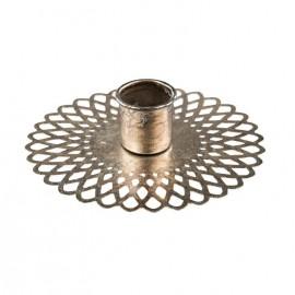 Lysestage med mønstret bund - sølv look / Ø10,5