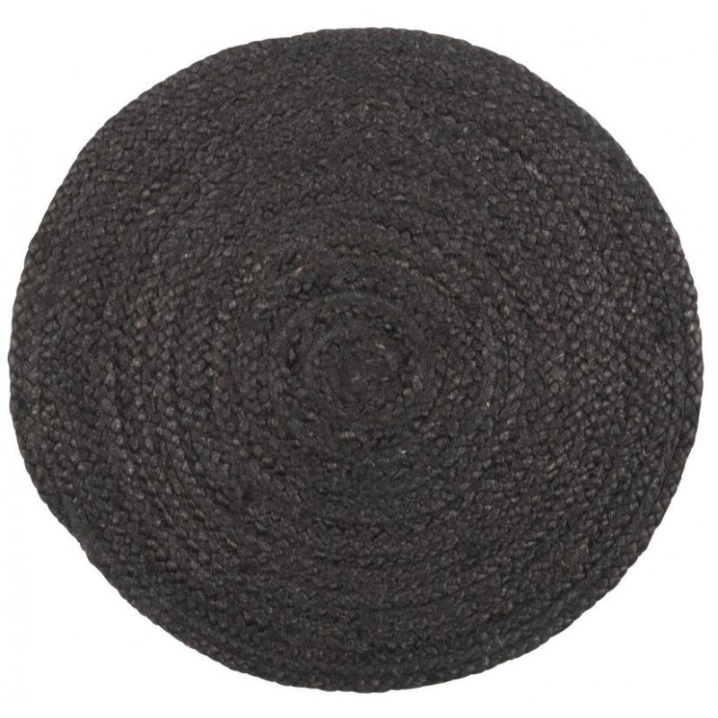 Dækkeserviet rund sort jute