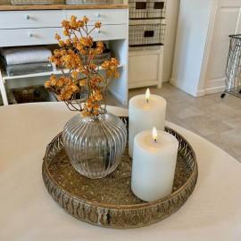 Kunstig gren med orange blomster - 60cm.