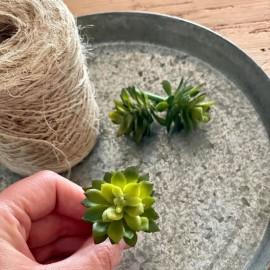 Kunstig sukkulent (grøn) - mini 6 cm.