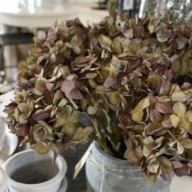 Kunstig Hortensia - grønne / lilla nuancer 45 cm.