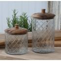 Glaskrukke med låg i mangotræ og slibninger - mellem