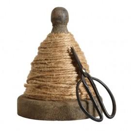 Træspole / snorholder med jutegarn & saks