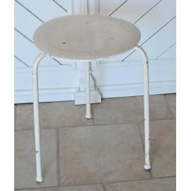 Skammel / taburet i hvid med patina