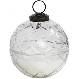 Lys i glaskugle med diamantudskæring 9 x 9 cm