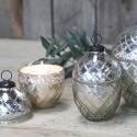 Stearinlys i glas æg - sølv