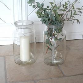 Gammel glaskrukke / glasvase - stor
