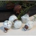 Mini julekugler i sæt af 5 - hvid / sølv