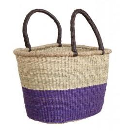 Flet taske af søgræs - med lilla kant