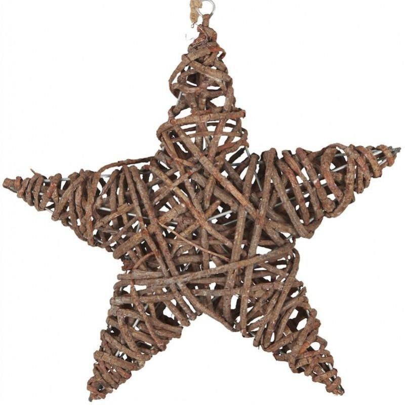 Stjerne omviklet af træ - 36 x 36 cm