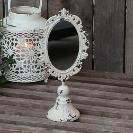 Spejl på fod i creme og et patineret look