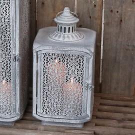 Lanterne med mønster i antique zink - H40cm.