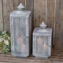 Stor lanterne i zink med flot mønster - H60cm.
