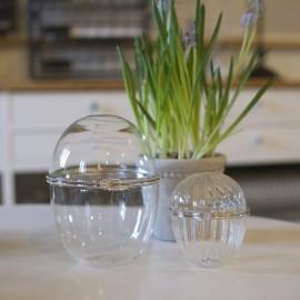 Æg i klar glas med sølvdekor - stor