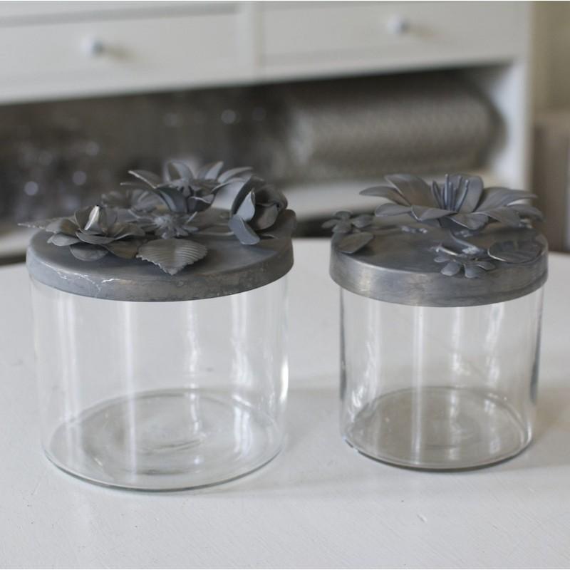 Krukke i glas med låg i zink - H13 x Ø11,5
