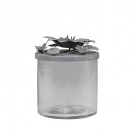 Krukke i glas med låg i zink - H13 x Ø10