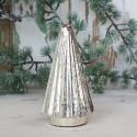 Juletræ i glas / sølv look - H18 cm.