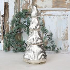 Juletræ i glas / sølv look - H39 cm.